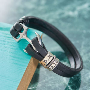 You Are My Anchor Personalised Leather Bracelet - men's sale