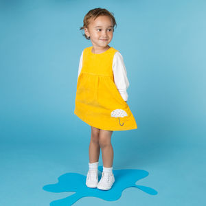 Yellow Cord Pinny Dress - clothing