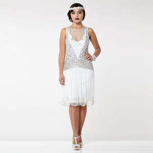 20s Inspired Art Deco Drop Waist Dress - flapper dresses