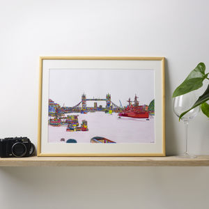 Tower Bridge Original Multicoloured Illustration - limited edition art