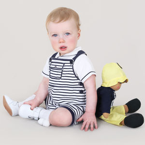Baby Boy Designer Striped Overall And Bodysuit Set - outfits & sets