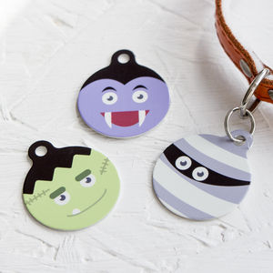 Personalised Halloween Character Pet Tag Bauble Shaped