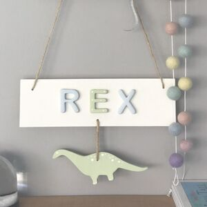 Personalised Name Sign With Hanging Dinosaur