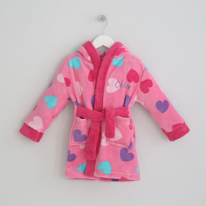 Personalised Pink Heart Print Robe - bathtime