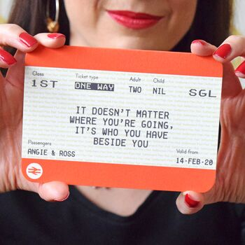 Personalised Train Ticket Valentine's Card