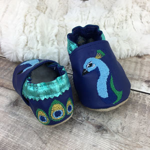 Personalised Peacock Baby Shoes