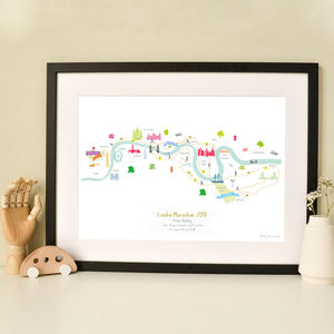 London Marathon Route Map Personalised Print