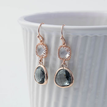 Rose Gold Glass Double Drop Earrings