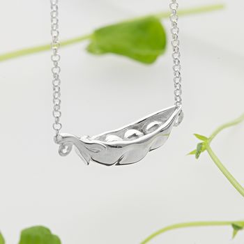 Silver Peas in a Pod Necklace by Lily Charmed