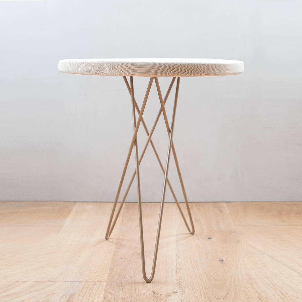 Tri Leg Hairpin Round Wooden Table By Made Anew