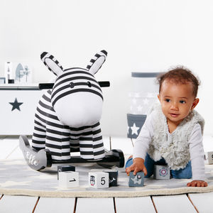 Personalised Rocking Zebra - the 'no pink or blue' children's collection