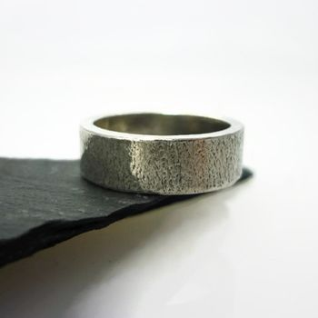 Brushed Sterling Silver Ring 6mm