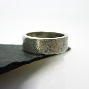 Brushed Sterling Silver Ring 6mm - rings
