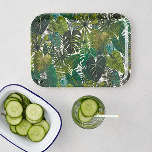 Botanical Plants Birch Wood Breakfast Tray