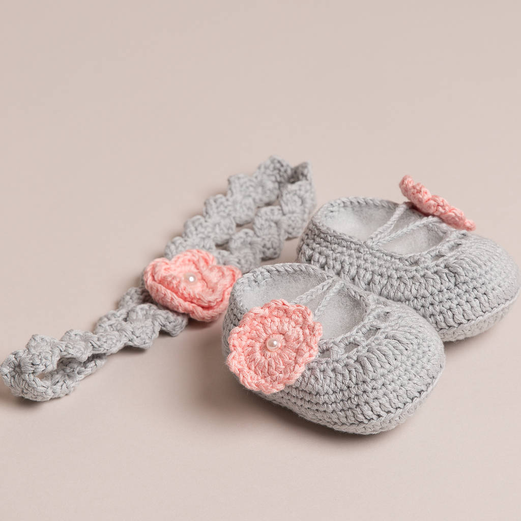 Hand Crochet Baby Shoes With Headband By Attic Notonthehighstreet Com