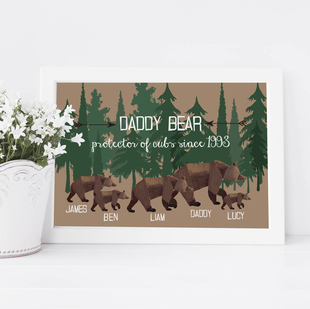 Personalised Daddy Bear Woodland Print