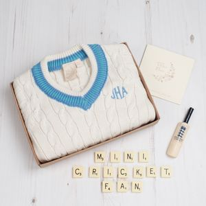 Personalised Baby Boy Cricket Jumper