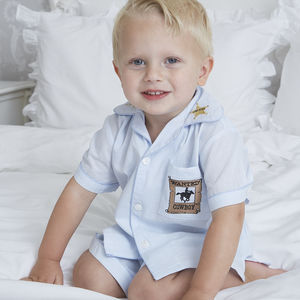 Boy's Personalised Cowboy Cotton Pyjama Short Set