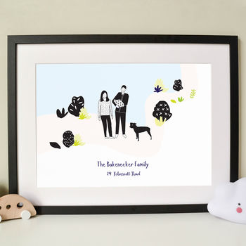 Personalised Family In The Garden Portrait Print