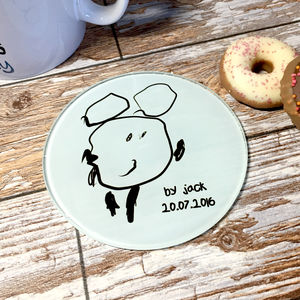 Personalised Child's Drawing Glass Coaster - shop by price