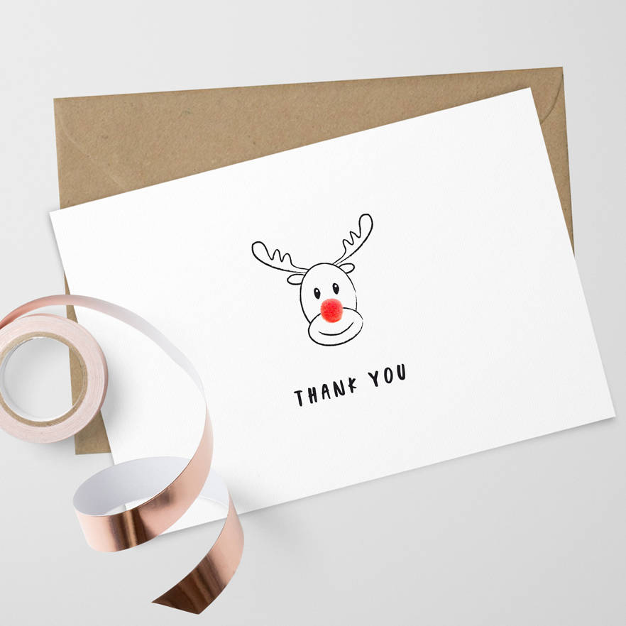 pack of 10 christmas thank you cards by confetti designs ...