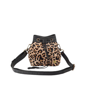 Mini Bucket Bag In 'Pony Hair' Leather Leopard Print