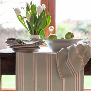 Eastnor Sage Green Ticking Stripe Organic Table Runner - table linen