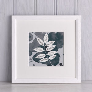 Watercolour Family Leaf Print - gifts for mothers
