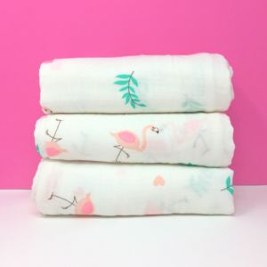 Pink Flamingo Muslins - baby changing