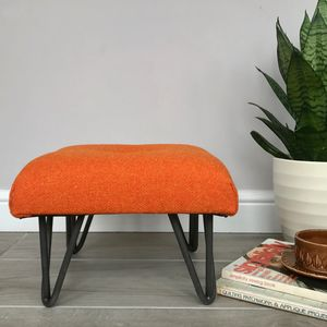 Vintage Wool Footstool With Hairpin Legs