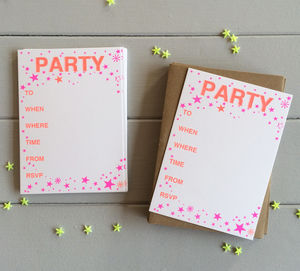 A Pack Of 12 Riso Print Party Invitation Postacrds