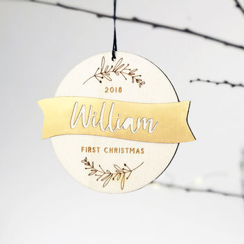 Personalised Babys First Christmas Wood And Gold Bauble