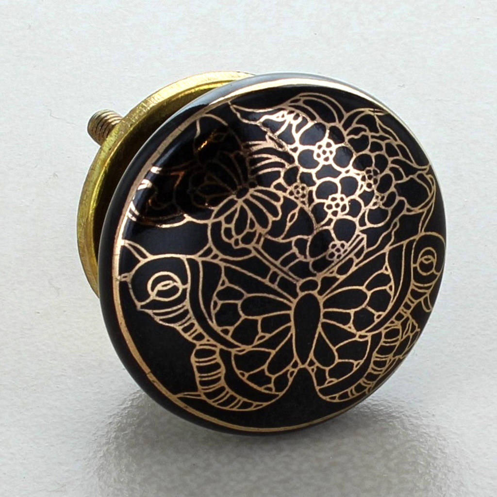Black Gold Tree Of Life Ceramic Door Knobs By G Decor