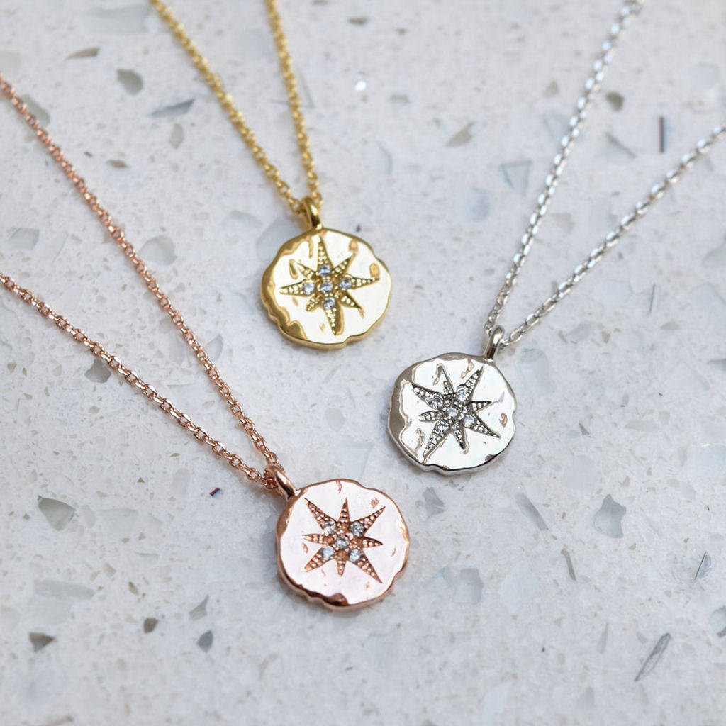 necklaces cz north plate gold medallion necklace pendant seol star