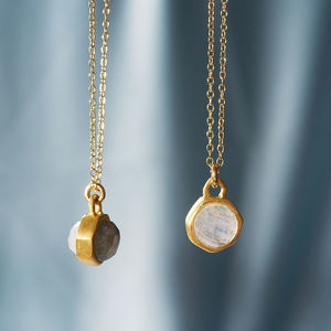 Gold Tiny Moonstone And Labradorite Charm Necklace - gifts for grandparents