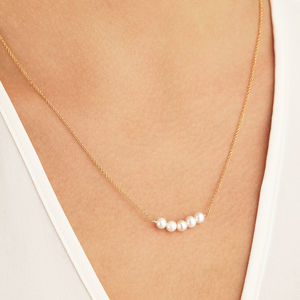 Delicate 14ct Gold And Silver Pearl Cluster Necklace