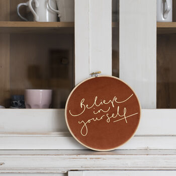'Believe In Yourself' Burnt Orange Velvet Hoop