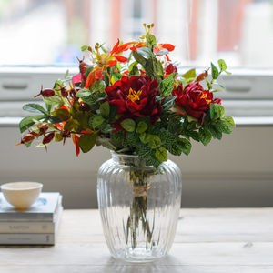 Winter Red Peony And Rosehip Artificial Flower Bouquet - sale by category