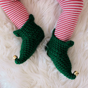Crocheted Christmas Elf Boots - slippers