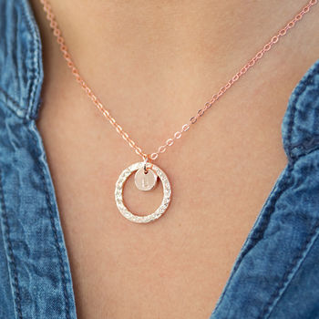 Personalised Rose Gold Circle Charm Necklace