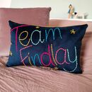 Family Team Embroidered Velvet Cushion