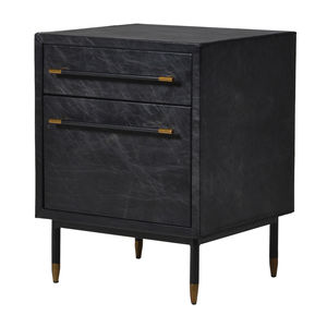 Leather Side Cabinet In Black