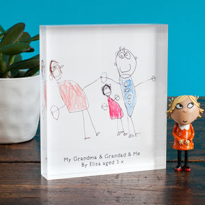 Personalised Child's Drawing Acrylic Block - keepsakes