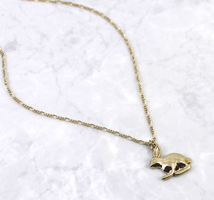 Gold Bunny Rabbit Charm Long Chain Necklace