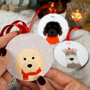 Personalised Christmas Dog, Metal Bauble Decoration