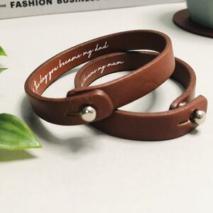 Personalised New Parent Birth Date Leather Bracelet