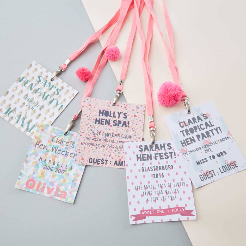 personalised hen night lanyards by pink biscuits ...