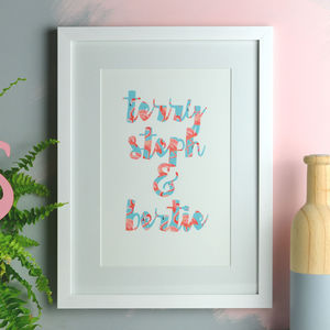 Personalised Tropical Flamingo Wording Print - inspired by family