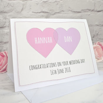 'Wedding Hearts' Personalised Wedding Card