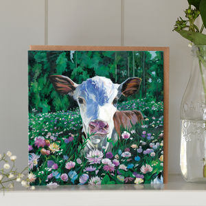 Mothers Day Card Calf In Flowers